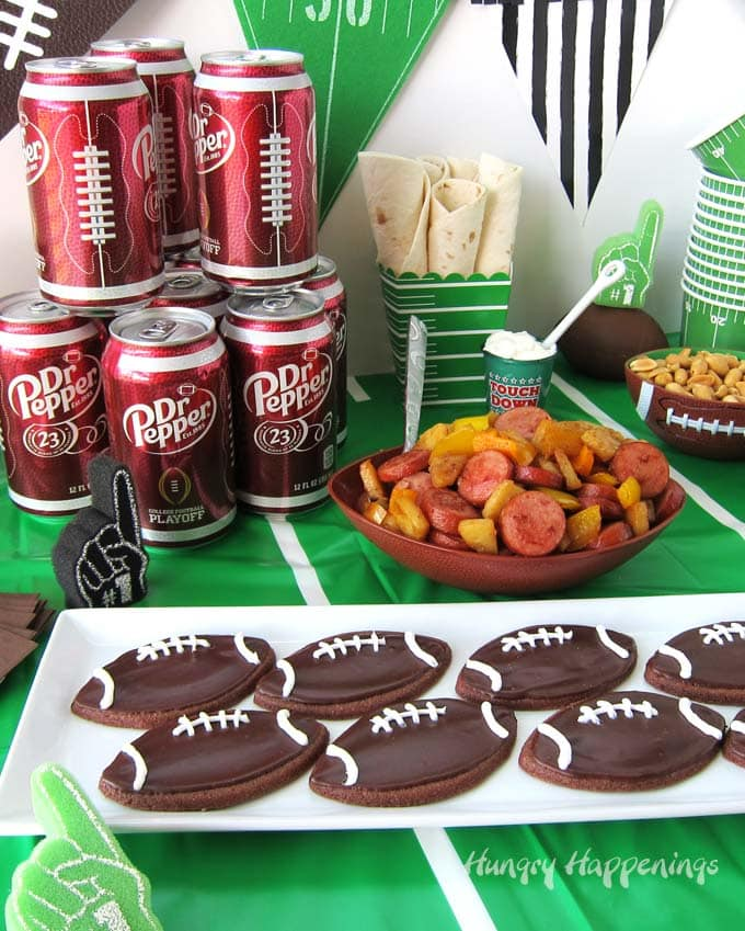 Chocolate Dr Pepper Football Cookies and Eckrich Smoked Sausage, Potato & Peppers.