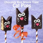 Chocolate Rice Krispie Treat Cat Pops make cute treats for Halloween or an animal themed party.