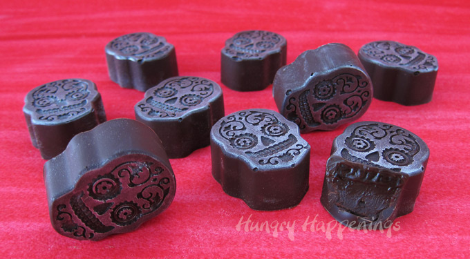 Chocolate Truffle Sugar Skulls for Day of the Dead or Halloween parties.