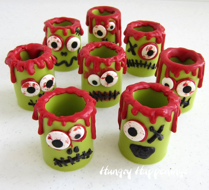 Make Zombie Candy Cups using vibrant green candy melts. Fun for Halloween.
