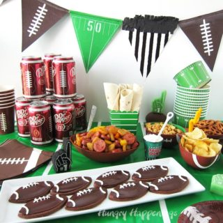 Chocolate Football Cookies With Dr Pepper Frosting & Eckrich Smoked Sausage Roll Ups
