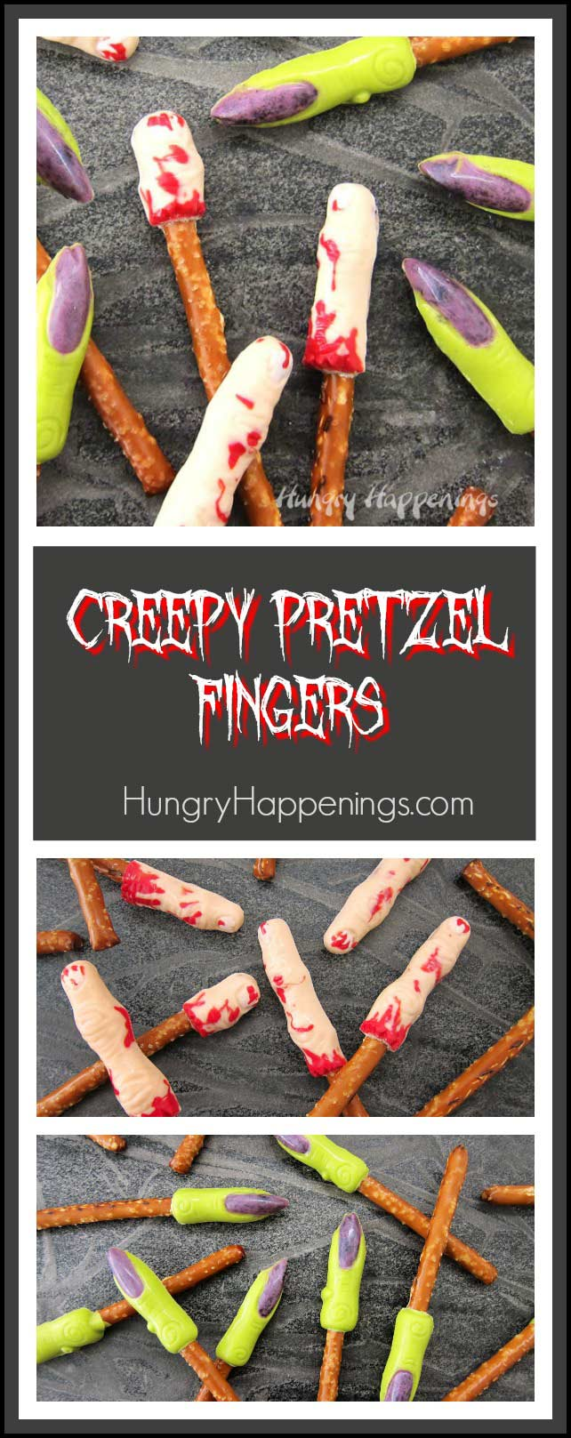 Learn how to paint Wilton Candy Melts® into molds to create these Creepy Pretzel Fingers for Halloween. Watch the video tutorial at HungryHappenings.com for instructions.