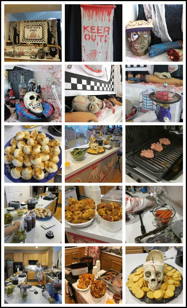 Halloween Party Decorations and Food - Dead Man's Diner Themed event.
