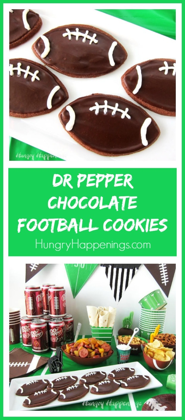 Chocolate Football Cookies frosted with rich and creamy Chocolate Dr Pepper Frosting make perfect treats for tailgating or homegating parties.