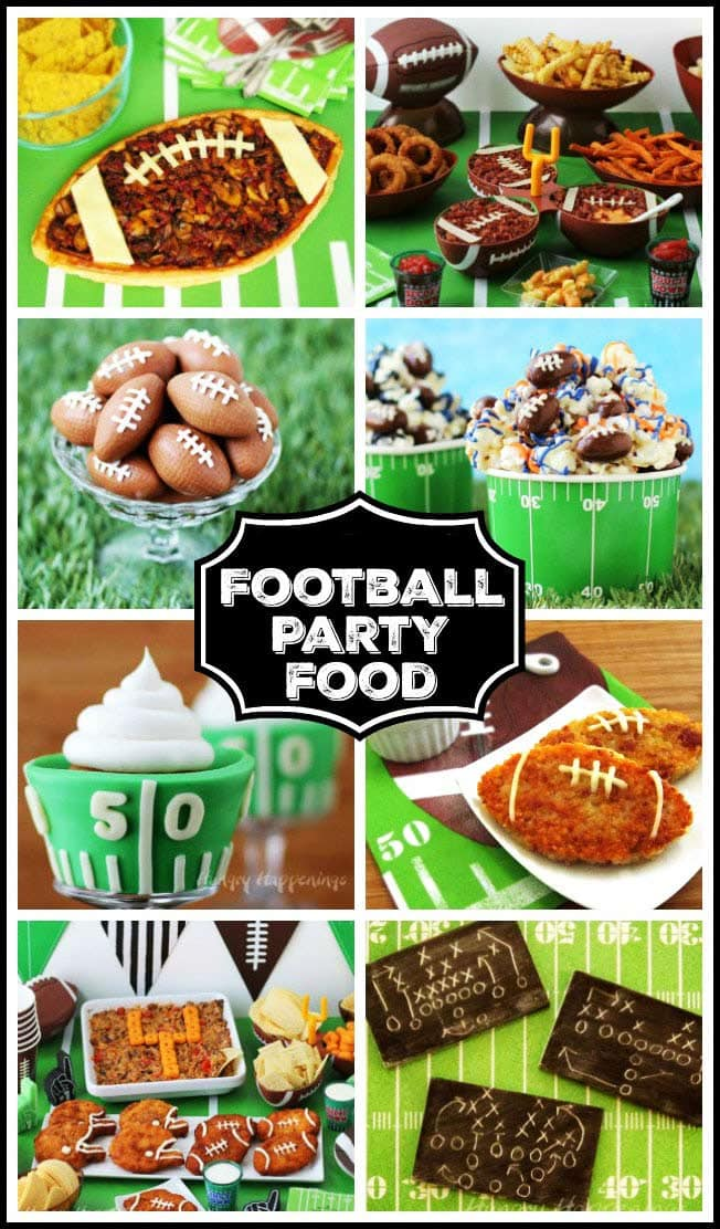 collage of images of fun party football themed party food including fudge footballs, football popcorn, football pizza and more
