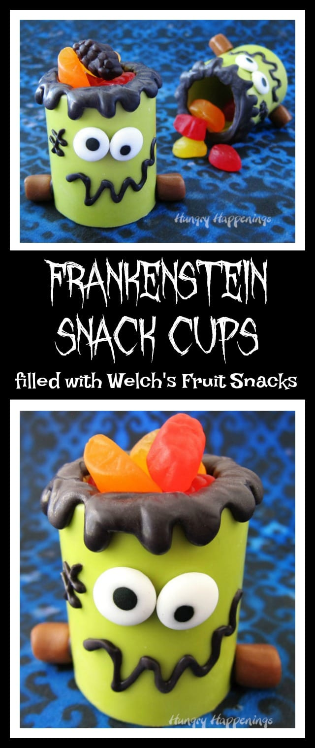Fill Frankenstein Snack Cups with Welch's Fruit Snacks for a fun Halloween treat. Watch the video tutorial to see how they are made!