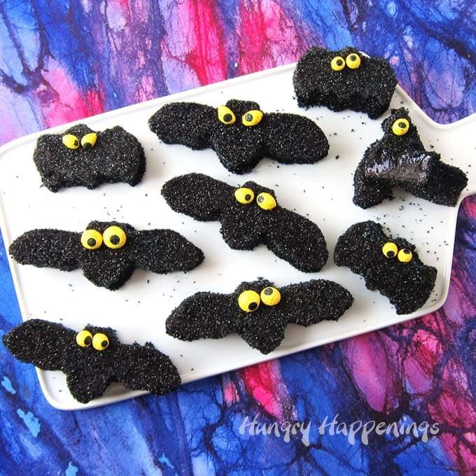 Grape gumdrop bats with homemade candy eyes.