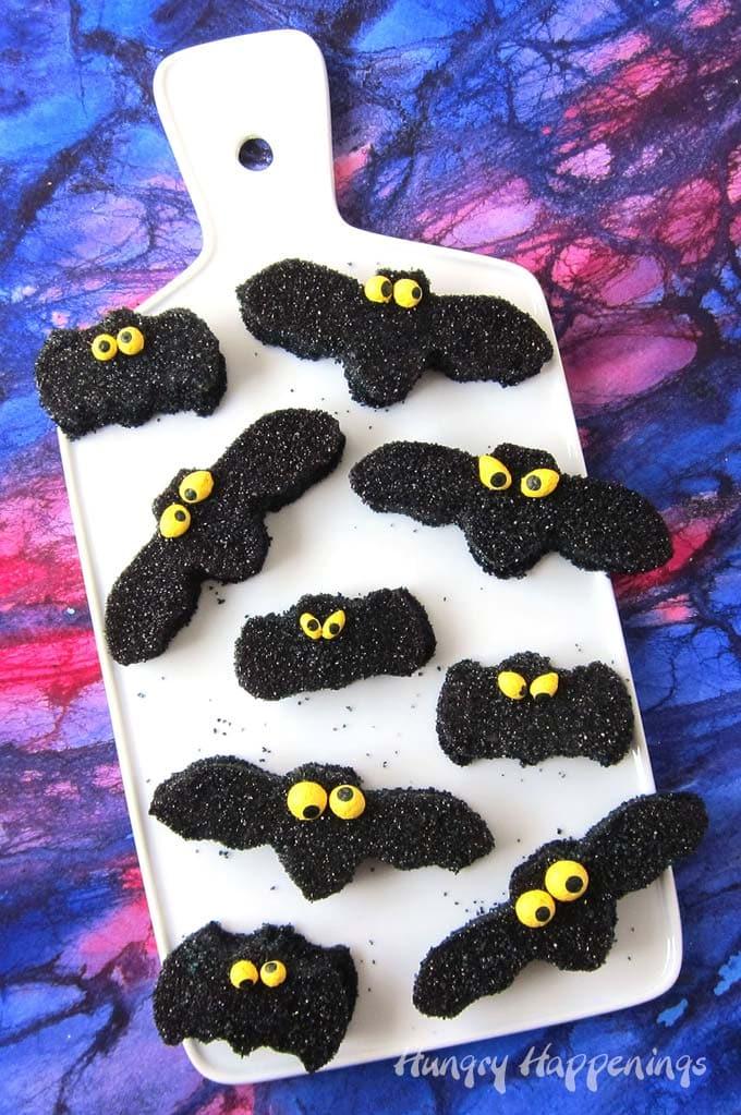 Homemade gumdrop bats for Halloween.