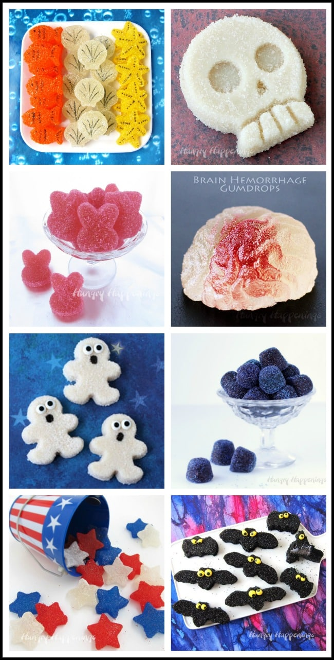 Learn how to make homemade gumdrops. See tutorials for Gumdrop Star, Brains, Skulls, and More at HungryHappenings.com.