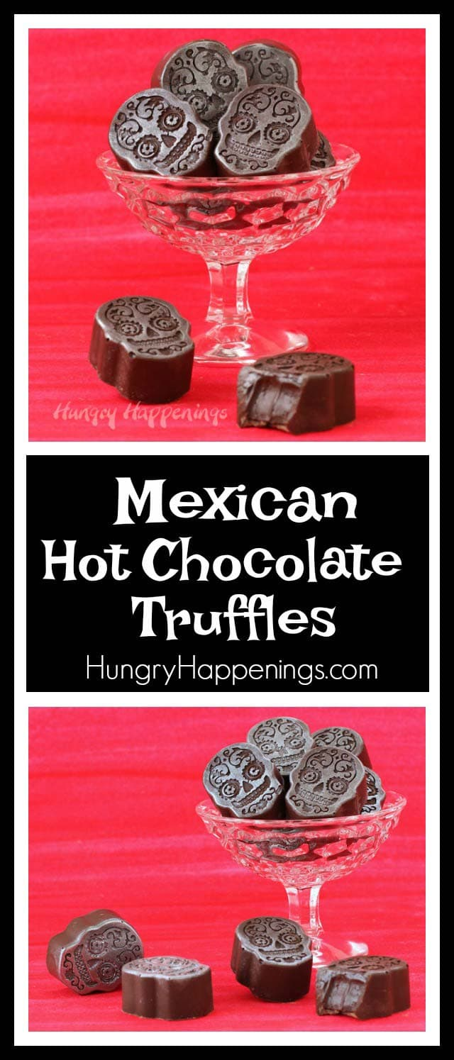 Celebrate the Day of the Dead with these Sugar Skull shaped Mexican Hot Chocolate Truffles. Each bite sized dark chocolate candy has a lusciously creamy ganache center that is spiced with cinnamon and cayenne pepper.