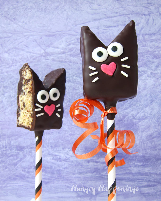 Rice Krispie Treat Chocolate Cat Lollipops