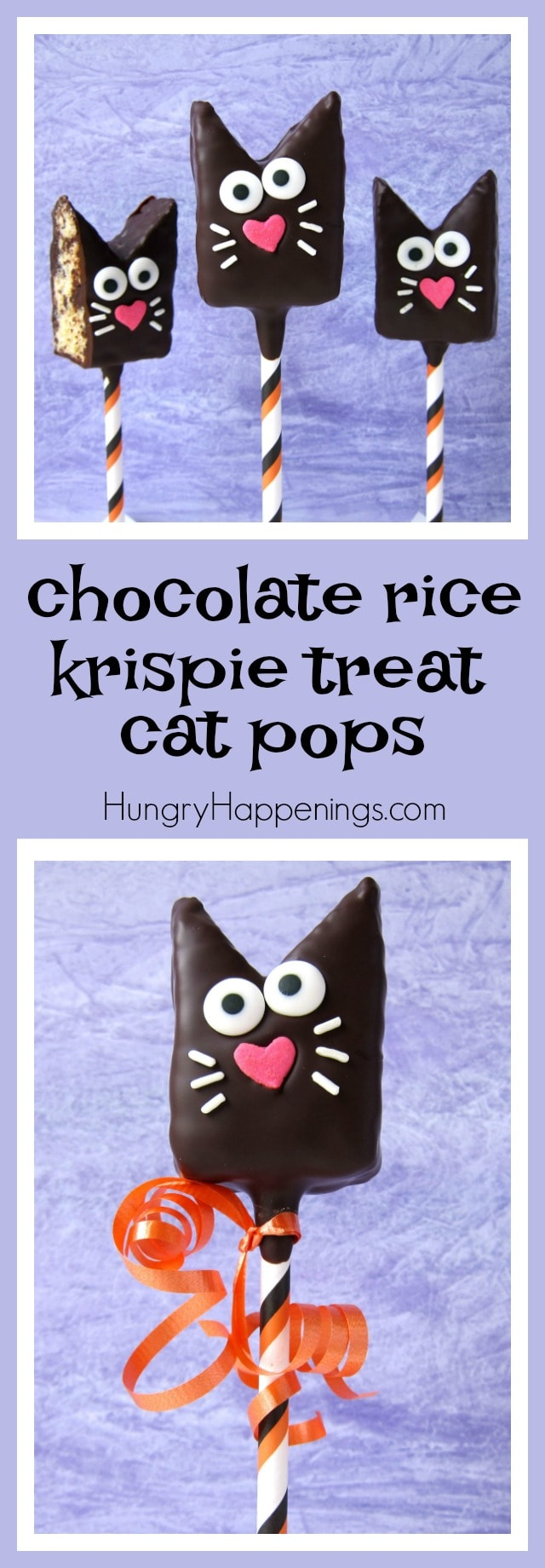 Want an adorably cute, incredibly tasty, and amazingly simple treat to make for Halloween? Then you'll got to make these Chocolate Rice Krispie Treat Cat Pops.