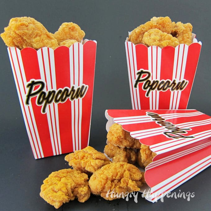 For your next party or movie night sprinkle popcorn chicken with popcorn seasoning and serve the nuggets in popcorn boxes.