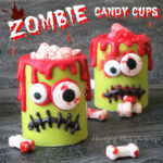 Zombie Candy Cups filled with blood stained candy bones or hot and spicy blood red candies make ghoulish treats for Halloween.