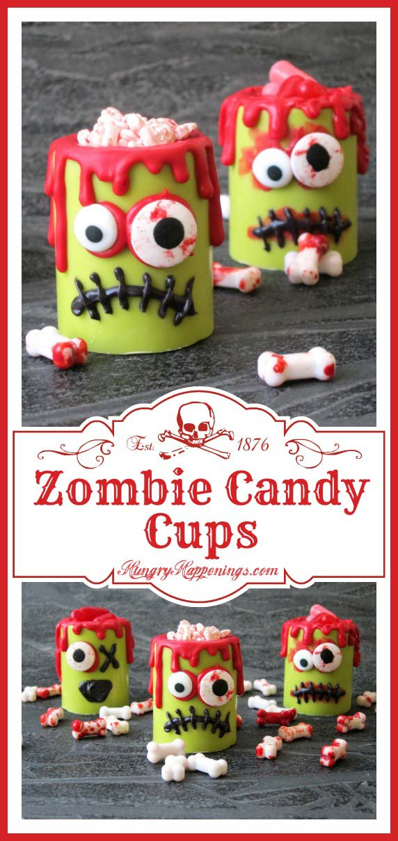 Zombie Candy Cups filled with blood stained candy bones or hot and spicy blood red candies make ghoulish treats for Halloween or a Day of the Dead party.