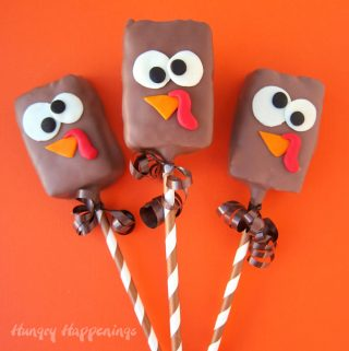 chocolate rice krispie treat turkeys