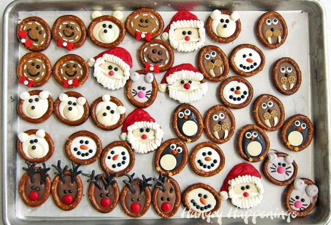 Adorably cute chocolate Christmas pretzels.
