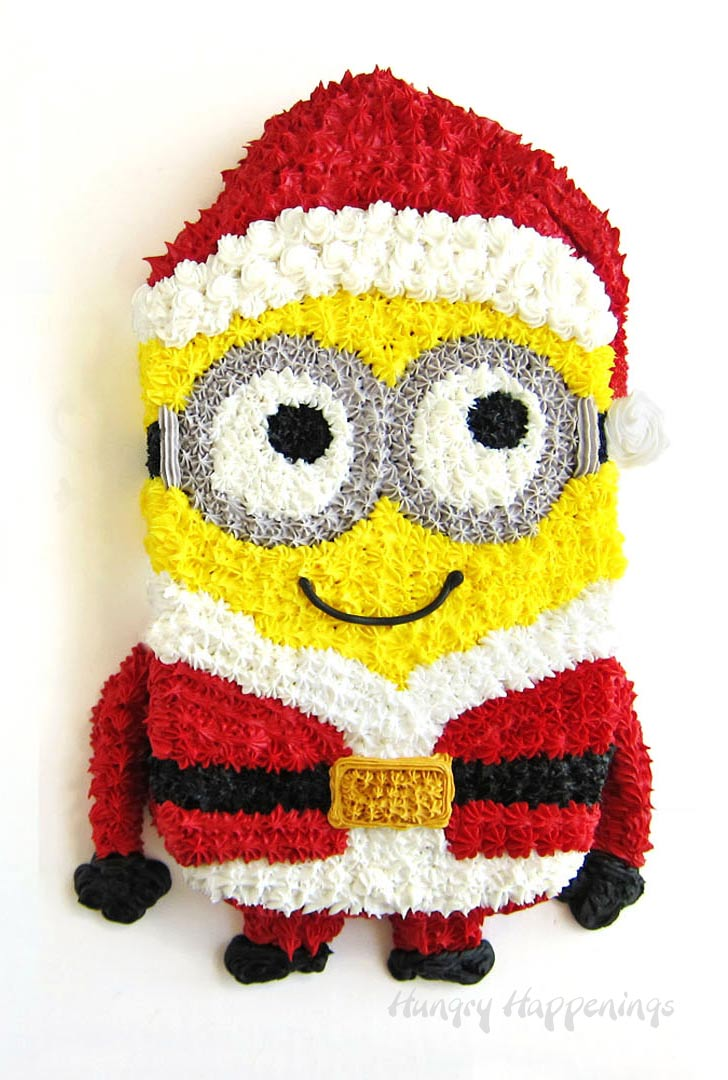 Dress up your Minion cake for Christmas by putting him in a Santa Suit.