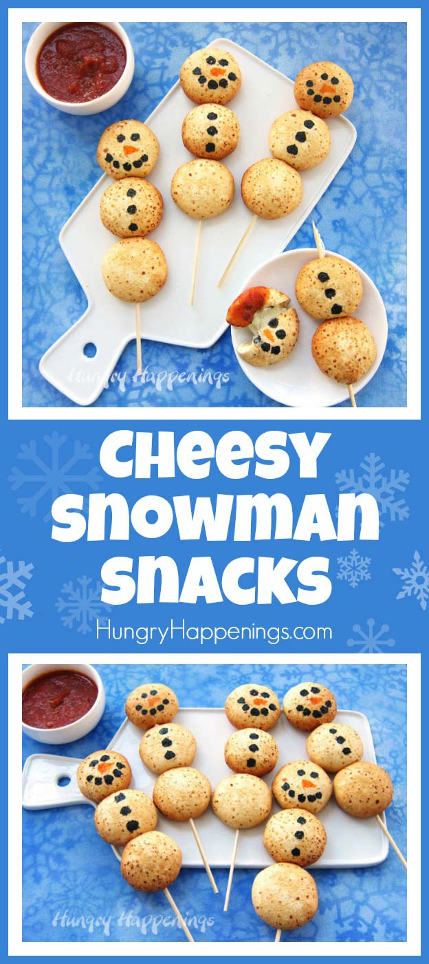 You won't believe how easy it is to make these adorable Cheesy Snowman Snacks using Farm Rich™ Mozzarella Bites. The whole family will love these savory holiday treats.