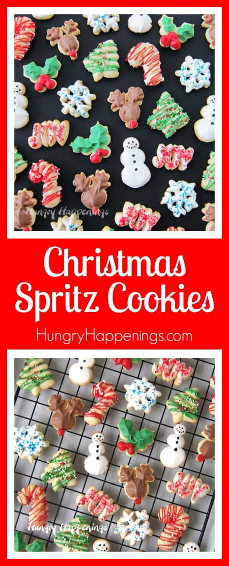 Make Christmas Spritz Cookies the easy way using a cookie press and design discs from Wilton. Then decorate your snowmen, candy canes, reindeer, holly leaves, snowflakes and more using Wilton Candy Melts. Post sponsored by Wilton.