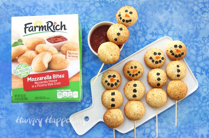 Turn Farm Rich™ Mozzarella Bites into adorable Cheesy Snowman Snacks for Christmas.