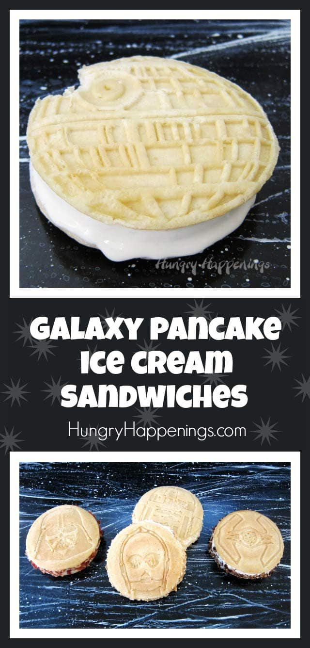 Sandwich a scoop of homemade, no-churn, maple ice cream in between two Kellogg's® Eggo® Star Wars Galaxy Adventure™ Buttermilk Pancakes to create these Galaxy Pancake Ice Cream Sandwiches. #EggStarWarsPancakes #CollectiveBias #ad