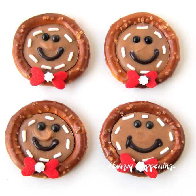 Gingerbread Men Pretzels for Christmas
