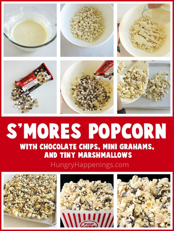 How to make S'mores Popcorn coated in white chocolate and filled with chocolate chips, mini graham crackers, and tiny marshmallows.