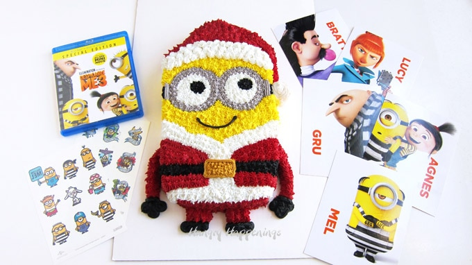 Despicable Me 3 DVD and Minion in Santa Suit Cake
