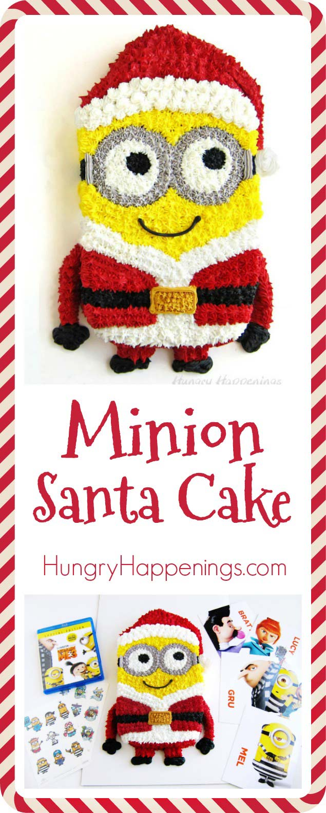 To celebrate the December 5th Blu-ray and DVD release of Despicable Me 3 Special Edition, this year's #1 animated movie, make an adorable Minion Santa Cake and curl up for a night of laughs with your family and friends. #DespicableMe3 #DM3family #ad