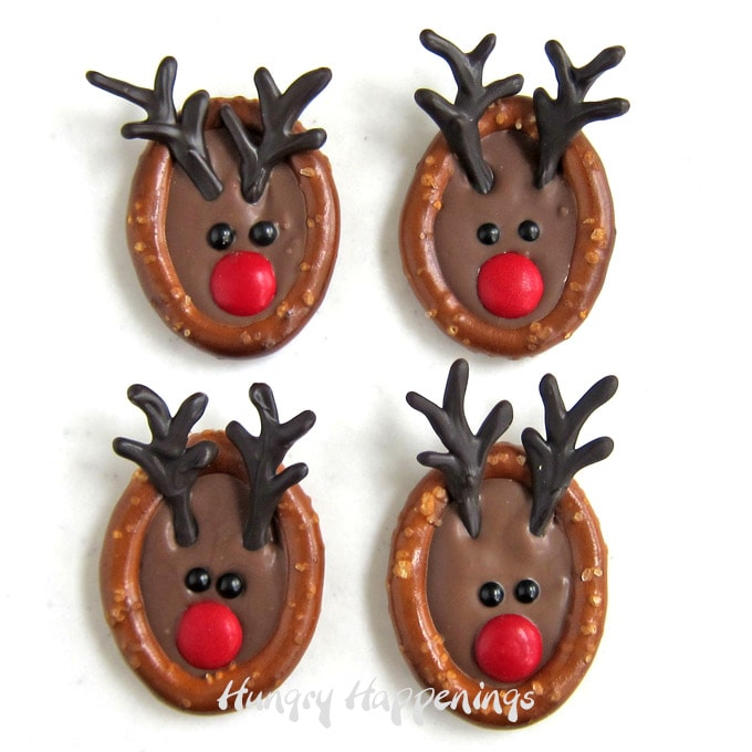 Chocolate Rudolph Pretzels for Christmas