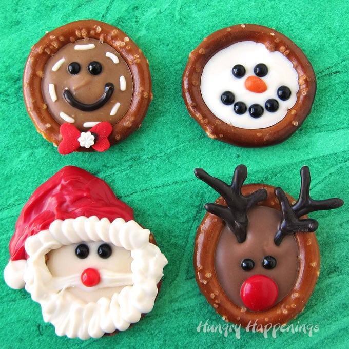 Chocolate Pretzels for Christmas - Santa, Rudolph, Gingerbread Men, Snowmen