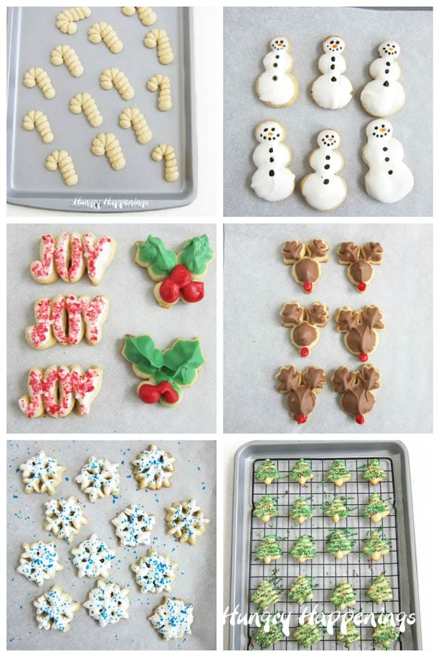 Christmas Spritz Cookies: candy cane, snowmen, Joy, holly, reindeer, snowflakes, Christmas trees.