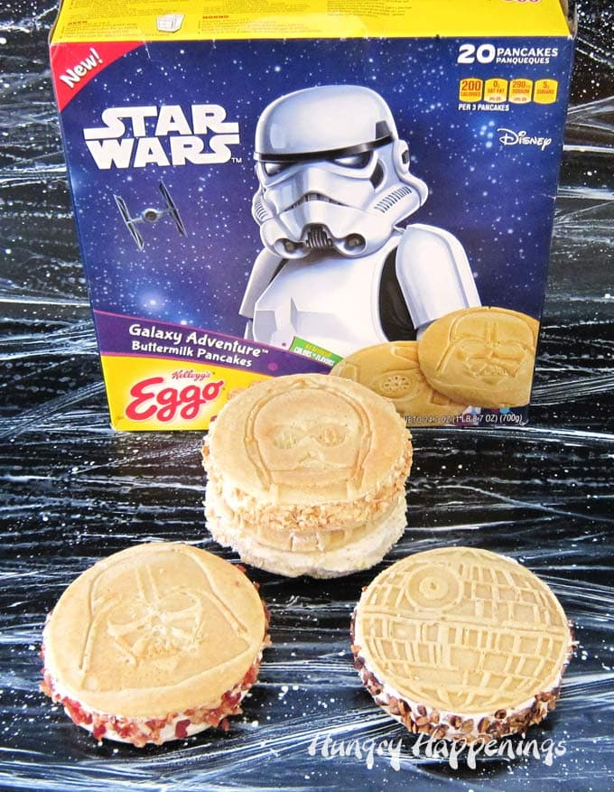 Sandwich a scoop of homemade, no-churn, maple ice cream in between two Kellogg's® Eggo® Star Wars Galaxy Adventure™ Buttermilk Pancakes to create these Galaxy Ice Cream Sandwiches.