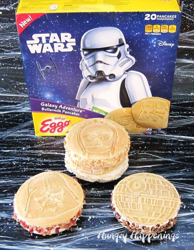 Sandwich a scoop of homemade, no-churn, maple ice cream in between twoKellogg's® Eggo® Star Wars Galaxy Adventure™ Buttermilk Pancakes to create these Galaxy Ice Cream Sandwiches.