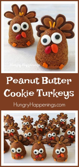 Brighten up your Thanksgiving table by adding one of these adorable Peanut Butter Cookie Turkeys next to each place setting. At the end of the Thanksgiving dinner, your guests can enjoy the soft and chewy peanut butter cookie for dessert.