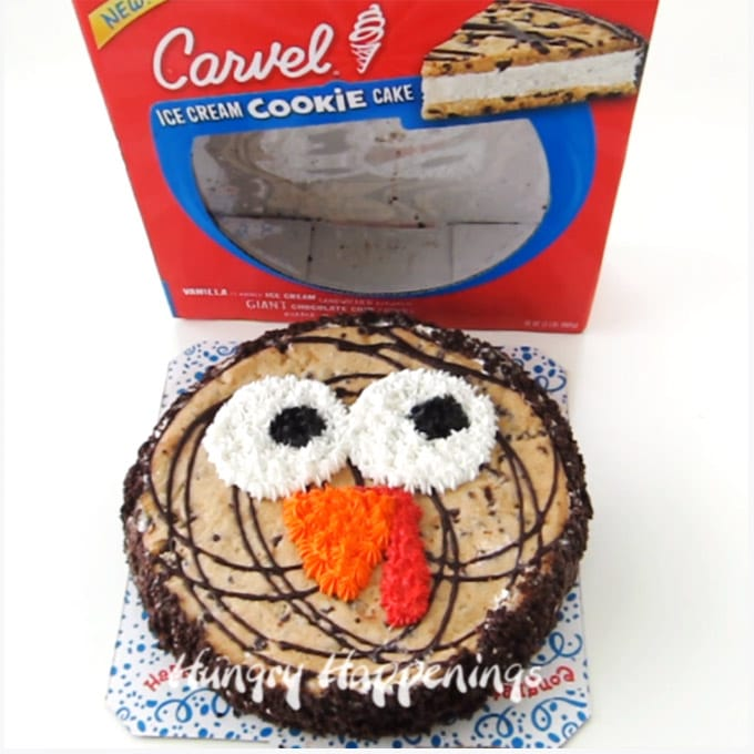NEW Carvel® Ice Cream Cookie Cakes can be easily decorated like a turkey for Thanksgiving.