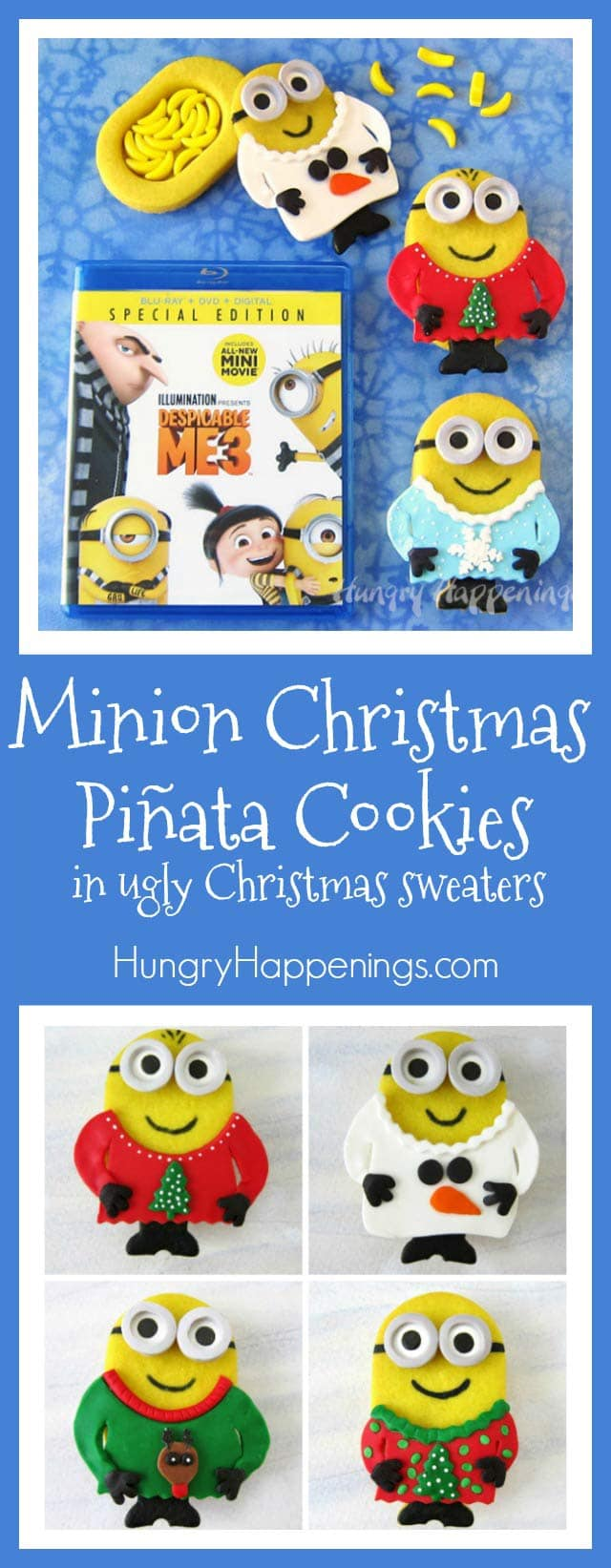 Break open one of these festively decorated Minion Christmas Piñata Cookies to find banana candies hiding inside. Each little Minion dressed in an ugly Christmas sweater looks as sweet as it tastes.