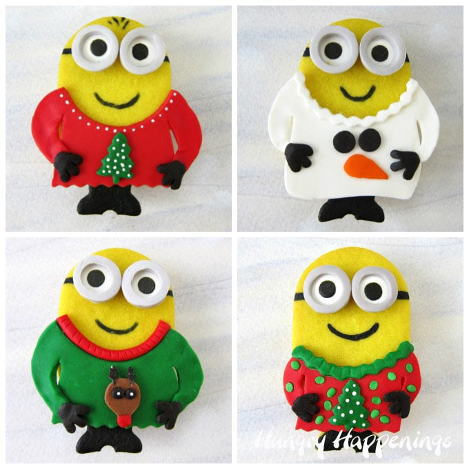 Candy Filled Minion Cookies Dressed in Ugly Christmas Sweaters