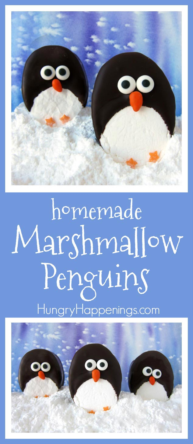 Homemade marshmallows have never looked so cute! These chocolate dipped marshmallow penguins can be eaten as is or added to a cup of hot chocolate for some Christmas fun!