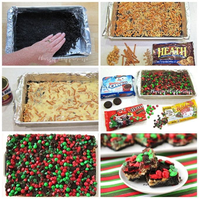 collage of images showing how to make Christmas magic bars