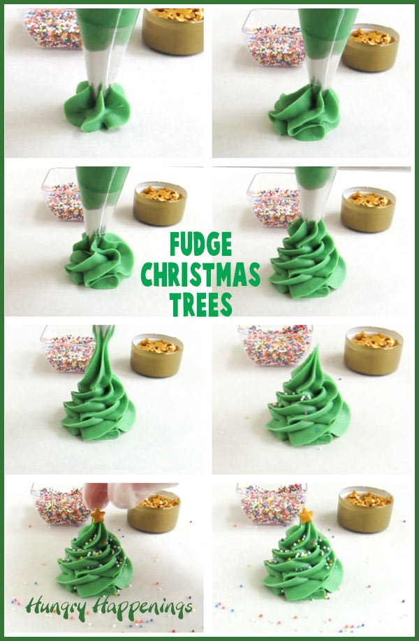 collage of images showing how to pipe out the fudge christmas trees