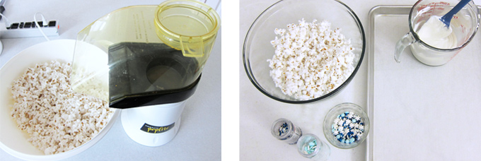 collage of images showing how to air pop popcorn to begin making white chocolate popcorn with snowflake sprinkles and blue and white jimmies
