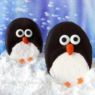 Homemade Marshmallow Penguins are the perfect addition to a cup of hot chocolate.
