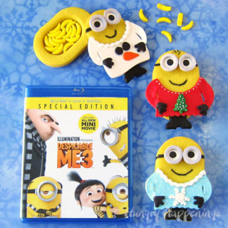 Minion Christmas Piñata Cookies dressed in Ugly Christmas Sweaters