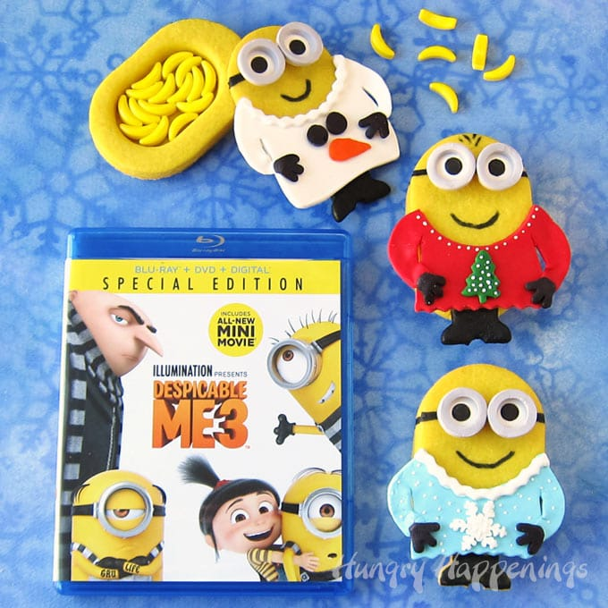 Despicable Me 3 Minion Christmas Piñata Cookies dressed in Ugly Christmas Sweaters