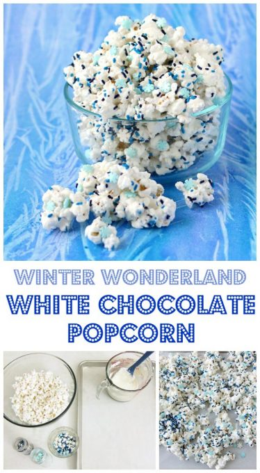 Collage of images showing how to make winter wonderland white chocolate popcorn.