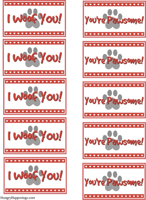 Valentines Printables I Woof You and You're Pawsome Dog and Puppy Pretzel Tags
