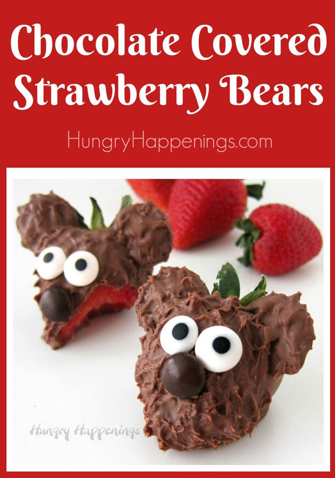 chocolate covered strawberry bears with text overlay