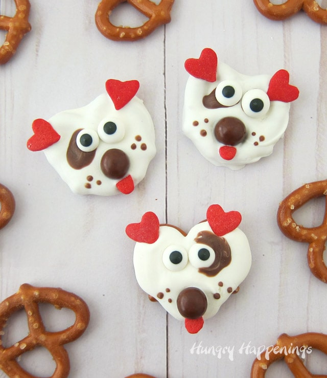 white chocolate pretzels decorated like puppies for Valentine's Day